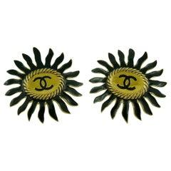 Chanel Vintage Massive Enamel Sunburst Clip On Earrings with CC Monogram