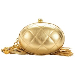 Chanel Vintage Metallic Gold Egg Minauderè Diamond Quilted Red Carpet Clutch