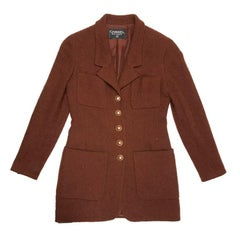 CHANEL Vintage Mid-Length Jacket in Brown Wool Size 38FR