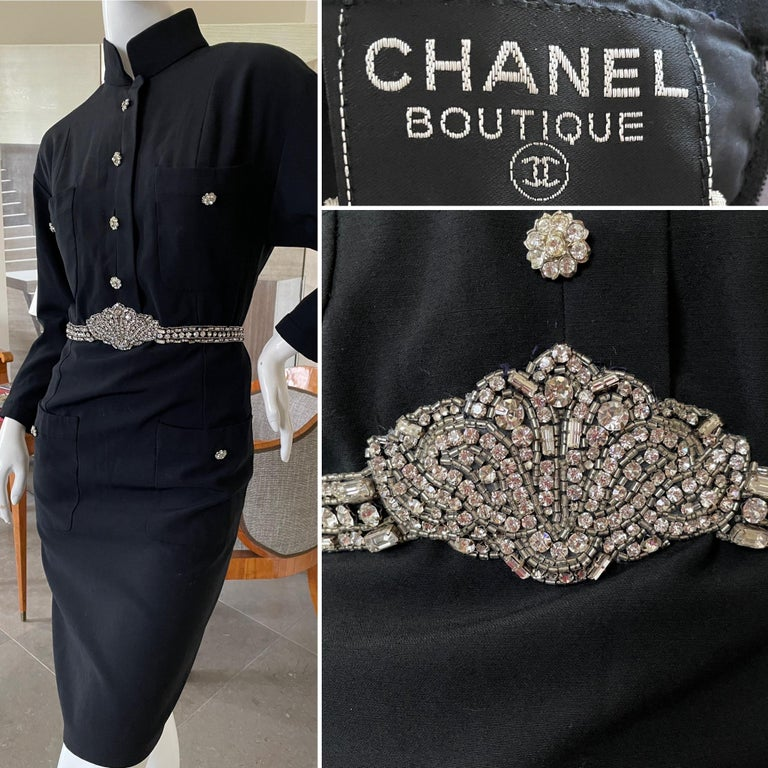 Chanel Vintage Military Style Little Black Dress with Maison Lesage Embellished Jewel Belt. Beautiful cast crystal buttons are ornamental, there is a zipper up the back. The tromp l'oeil belt is a superb example of Masion Lesage's excellence. It is