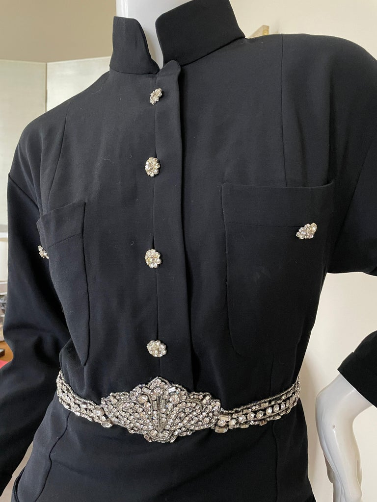 Chanel Vintage Military Style Little Black Dress with Crystal Embellished Belt In Excellent Condition In San Francisco, CA
