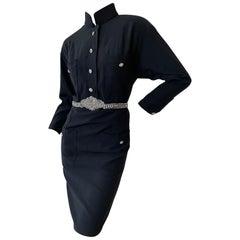 Chanel Vintage Military Style Little Black Dress with Crystal Embellished Belt