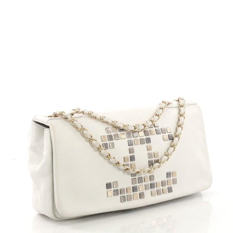 9dc9b93503c1 Beige Chanel Vintage Mosaic CC Flap Bag Studded Leather East West For Sale