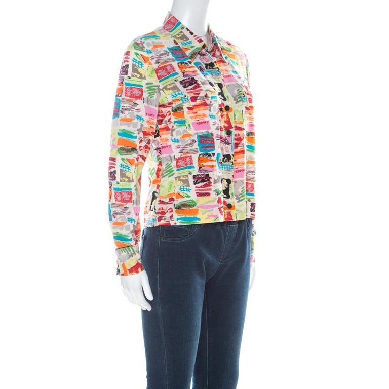 Chanel Vintage Multicolor Stretch Silk Crepe Abstract Print Cropped Shirt M In Good Condition For Sale In Dubai, Al Qouz 2