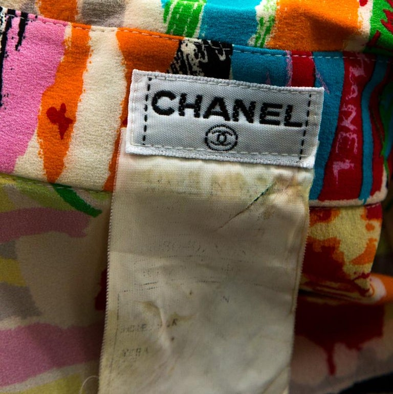 Chanel Vintage Multicolor Stretch Silk Crepe Abstract Print Cropped Shirt M For Sale 1