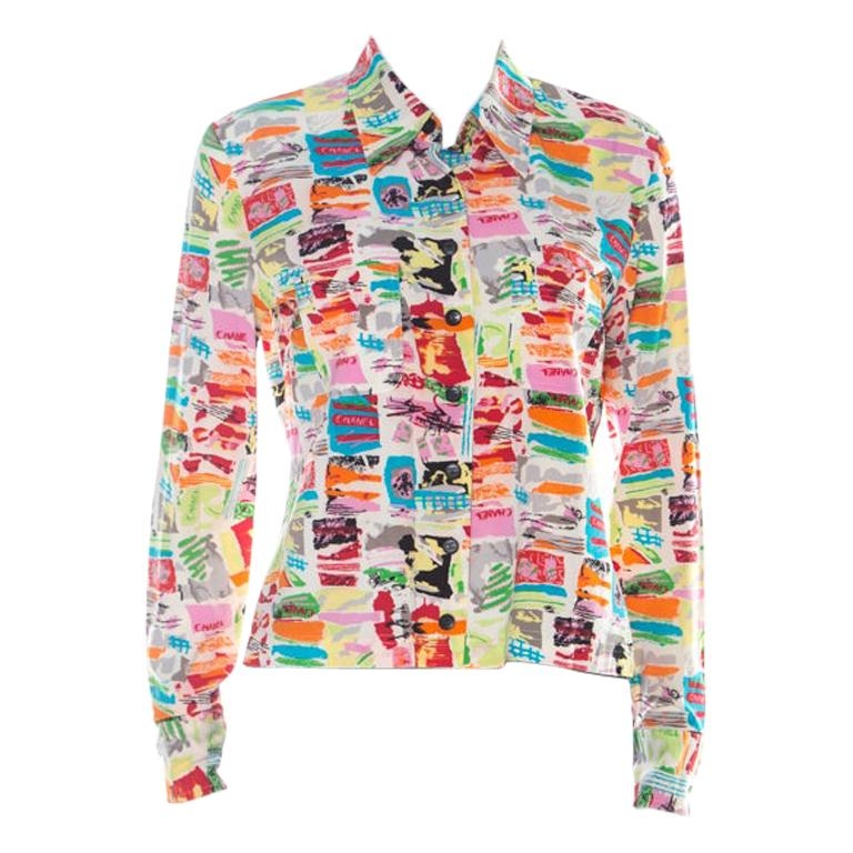 Chanel Vintage Multicolor Stretch Silk Crepe Abstract Print Cropped Shirt M For Sale