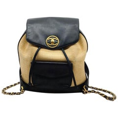 Chanel Vintage Natural Rattan Black Leather Backpack