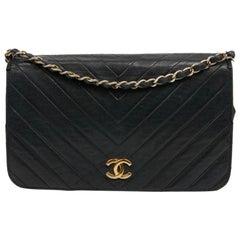 Chanel Vintage Navy Blue Leather Flap Bag