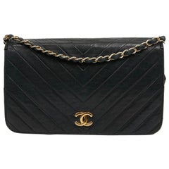 CHANEL Vintage Navy Blue Leather Flap Bag