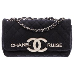 Chanel Vintage Navy Blue Quilted Fabric CC Cruise Flap Bag