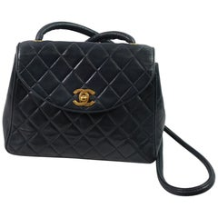Chanel Vintage Navy Quilted Leather Crossbody Bag