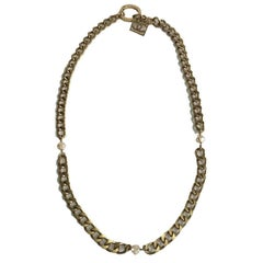 CHANEL Vintage Necklace-Belt in Matte Gold Colored Mesh and Pearls