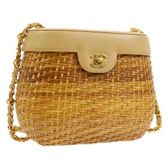 Chanel Vintage Nude Wicker Gold Picnic Bucket Shoulder Flap Small Bag