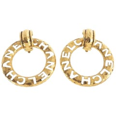 "Chanel Vintage Oversize Large ""CHANEL"" Inscribed Logo 2 in 1 Hoop Earrings"