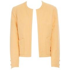 CHANEL Vintage pastel orange cotton collarless decorative button short jacket S