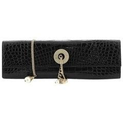 Chanel Vintage Pearl Chain Flap Clutch Crocodile Long