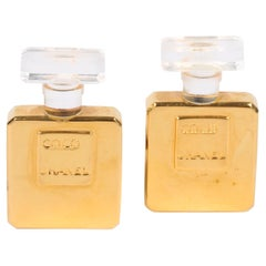 Chanel Vintage Perfume Bottle Earrings - gold