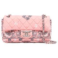 Chanel Vintage Pink Quilted Flower Print Classic Flap Shoulder Bag