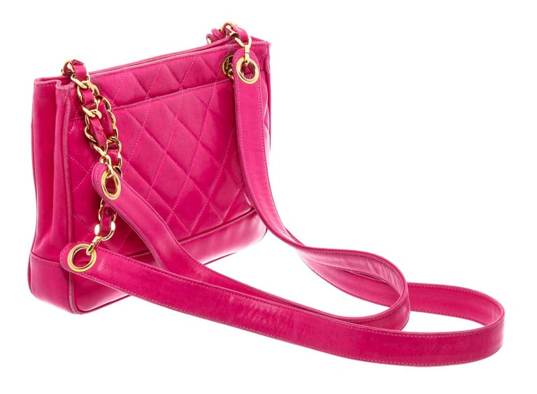 Chanel Vintage Pink Quilted Leather Tote Bag For Sale 1