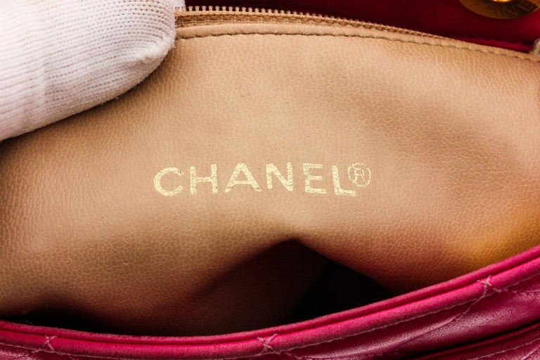 Chanel Vintage Pink Quilted Leather Tote Bag For Sale 2