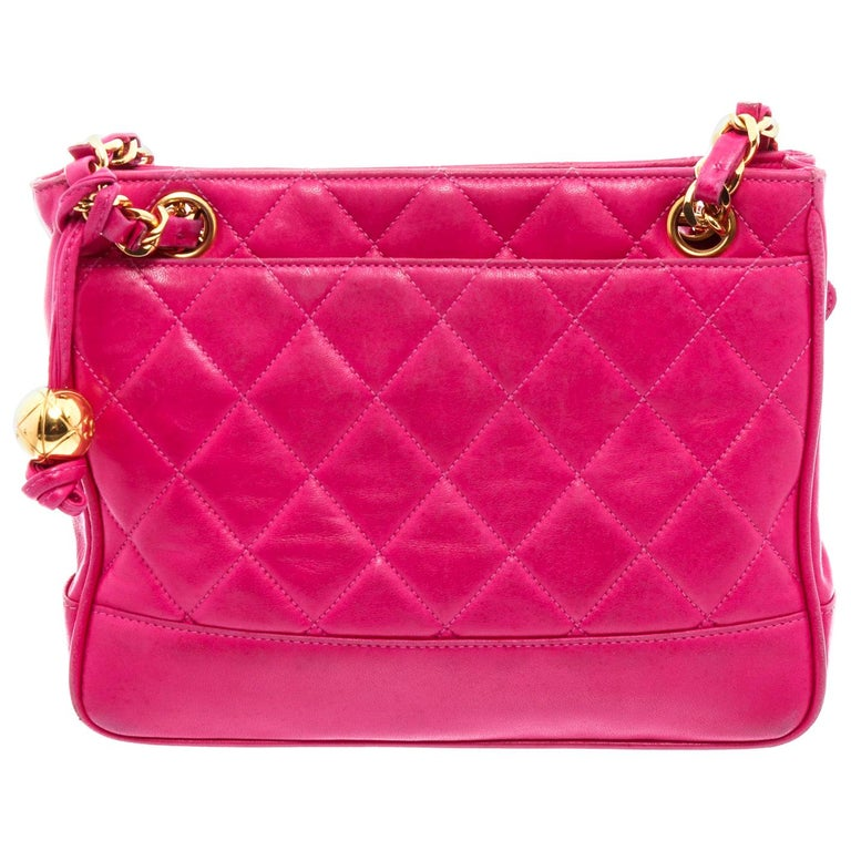 Chanel Vintage Pink Quilted Leather Tote Bag For Sale