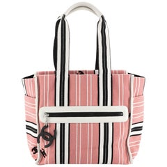 Chanel Vintage Pocket Tote Striped Canvas Small