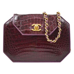 Chanel Vintage Purple Crocodile Exotic Gold Small Mini Evening Shoulder Bag