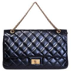 Chanel Vintage Quilted Black Lambskin Leather 2.55 Jumbo Shoulder Bag