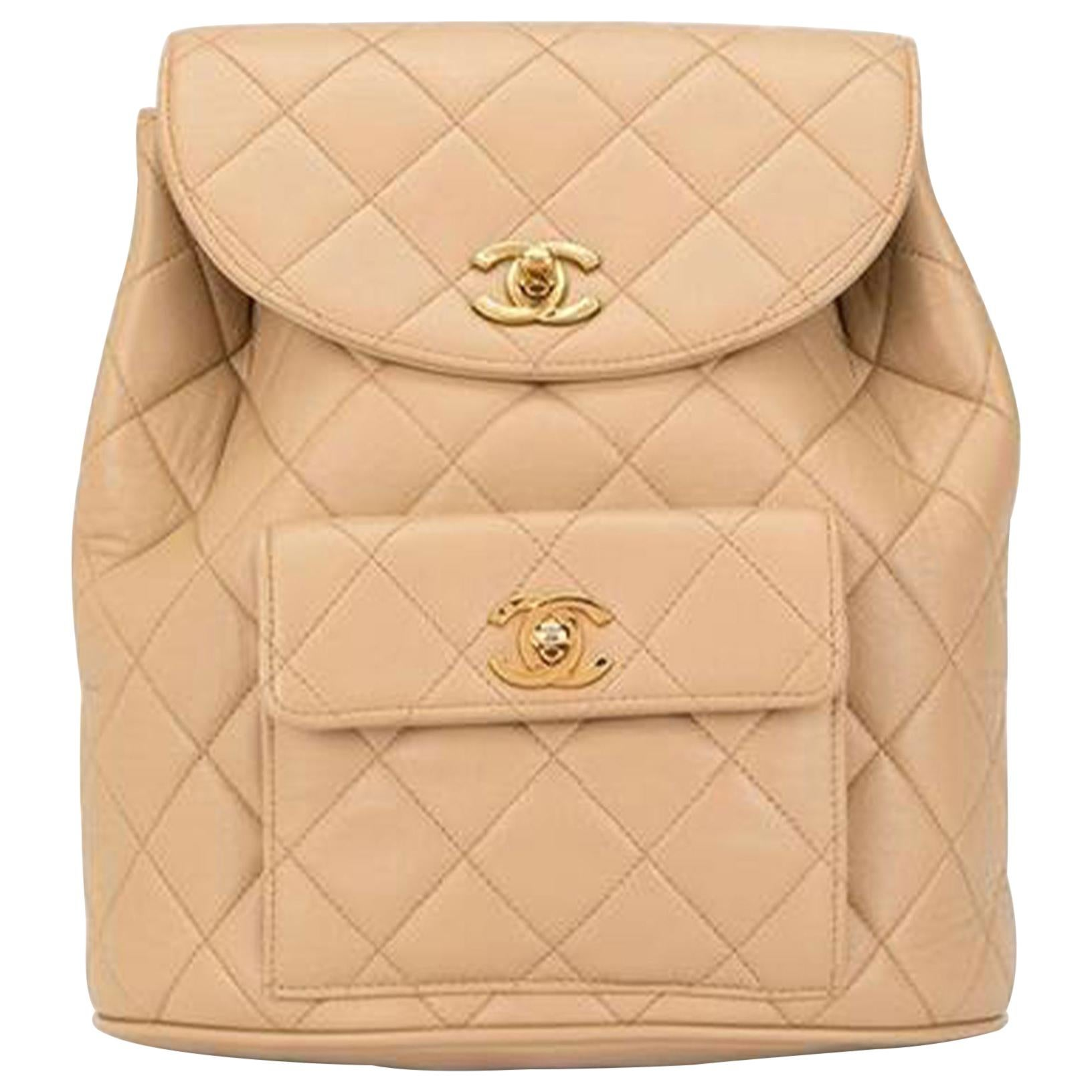 Chanel Vintage Quilted Lambskin Duma Cc Logo Beige Leather Backpack