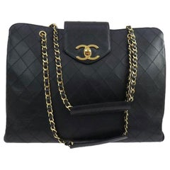 Chanel Vintage Quilted Lambskin XL Weekend Travel Overnight Business Bag Black