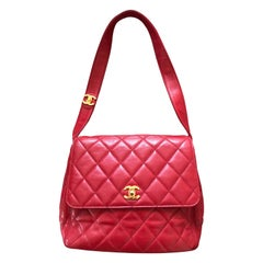 Chanel Vintage Quilted Red Lambskin Leather Flap Bag with Gold Hardware