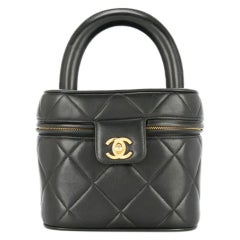 Chanel Vintage Quilted Top Handle Black Cosmetic & Jewelry Hand Bag Vanity