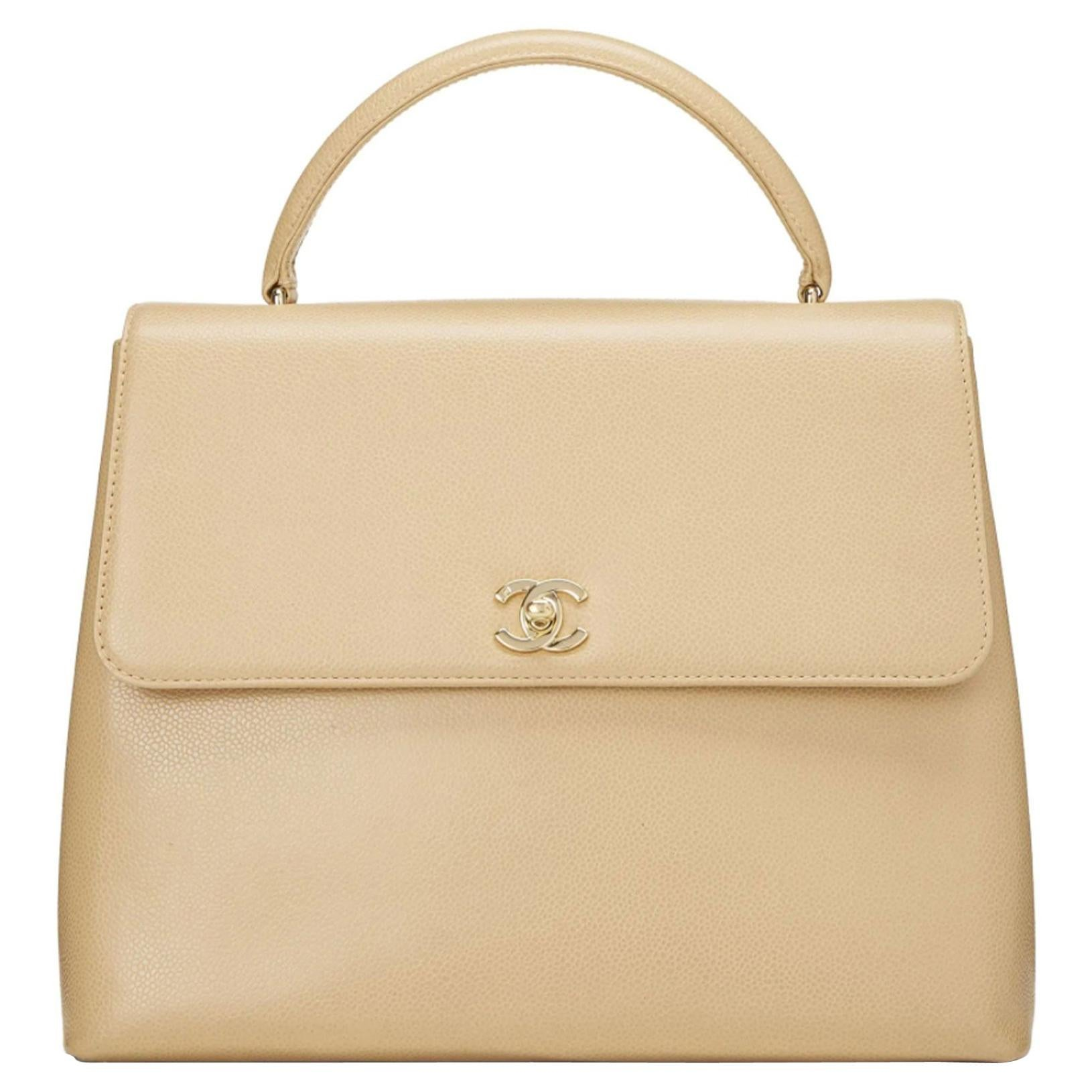 Chanel Vintage Rare Beige Caviar Top Handle Classic Kelly Flap Bag