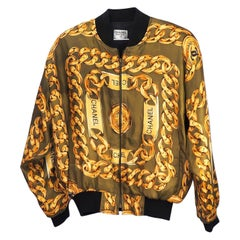 Chanel Vintage Rare Green and Gold Bomber Jacket (Small)