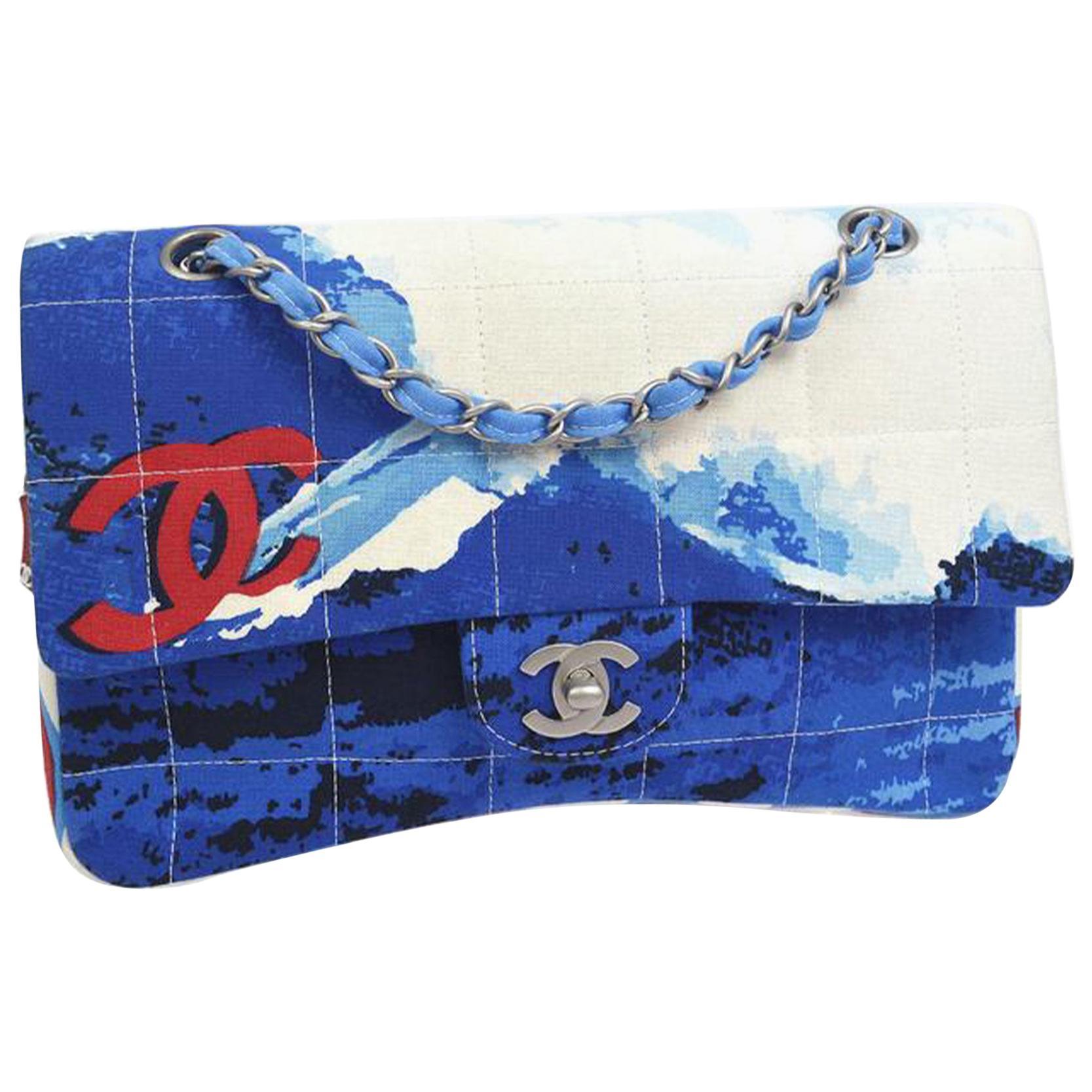 Chanel Vintage Rare Surf Sport Blue White Red Canvas Shoulder Bag