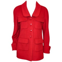 Chanel Vintage Red Cashmere Jacket W/ 4 Flap Pockets & Turn Up Cuffs '98 Fall