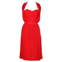 Chanel vintage  red chiffon cocktail  dress