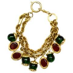 Chanel Vintage Red/Green Gripoix Charm Bracelet