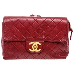 Chanel Vintage Red Lambskin Leather CC Flap Backpack