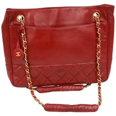 Chanel Vintage Red Lambskin Leather Shopper Bag