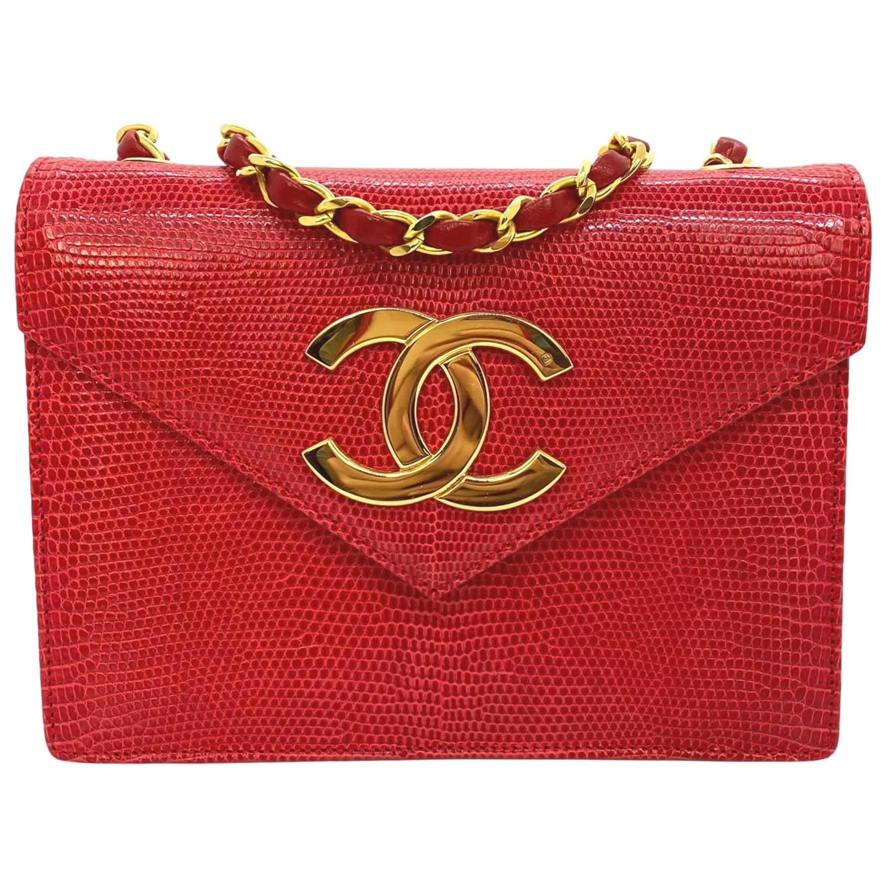 Chanel Vintage Red Lizard Envelope Cross Body Flap Bag with Gold Hardware