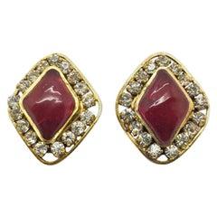 Chanel Vintage Red Pâte De Verre & Crystal Lozenge Earrings 1970s By Gripoix