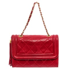 Chanel Vintage Red Quilted Leather Camera Bag