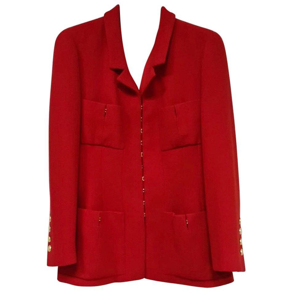 Chanel Vintage Red Wool Long Jacket Blazer CC Button