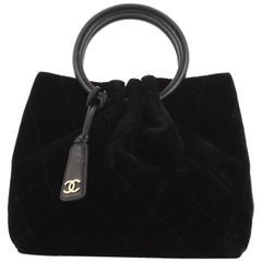Chanel Vintage Ring Handle Bag Quilted Velvet Small