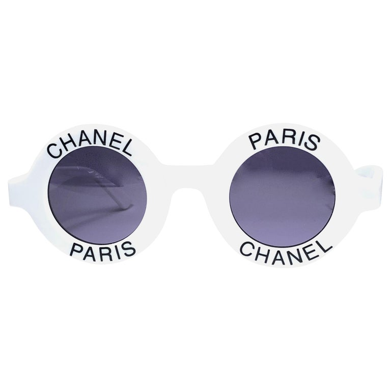 """Chanel Vintage Round """"Chanel Paris"""" Made In Italy White Sunglasses  For Sale"""