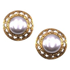 CHANEL Vintage Round Clip-On Earrings