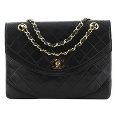 Chanel Vintage Round Flap Bag Quilted Lambskin Medium