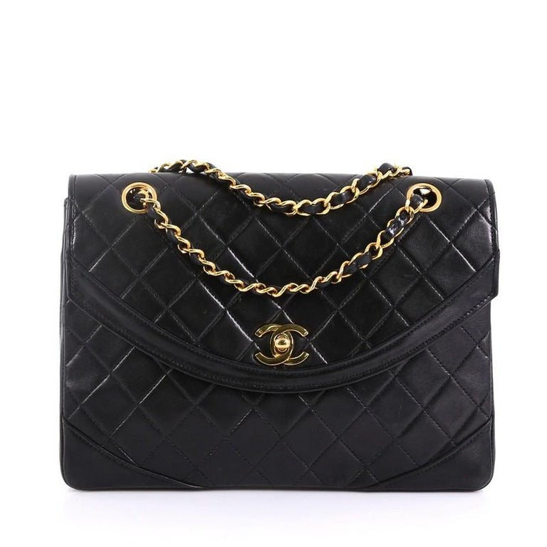 724d663452c9f1 Chanel Vintage Round Flap Bag Quilted Lambskin Medium at 1stdibs