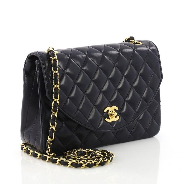 a32038056949 Black Chanel Vintage Round Flap Bag Quilted Lambskin Small For Sale